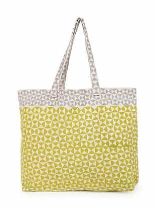 Green Grey Handblock Printed Cotton Tote Bag
