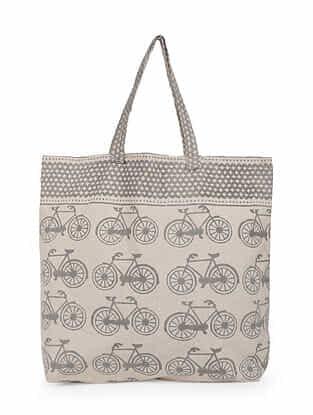 Grey White Handblock Printed Cotton Tote Bag