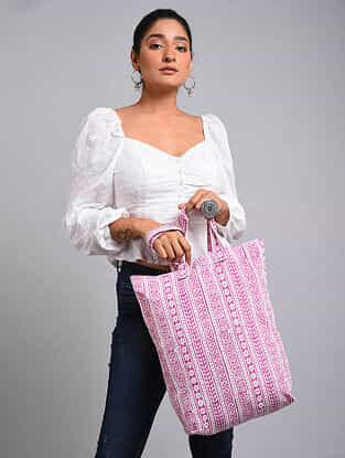 Pink White Handblock Printed Cotton Tote Bag