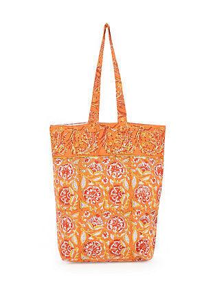 Orange Red Handblock Printed Cotton Tote Bag
