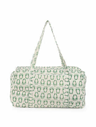 Green White Handblock Printed Cotton Duffle Bag