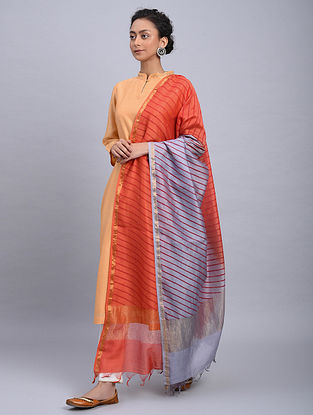 Orange-Grey Ombre Block Printed Chanderi Dupatta With Mukaish