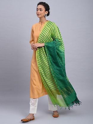 Green Ombre Block Printed Chanderi Dupatta With Mukaish