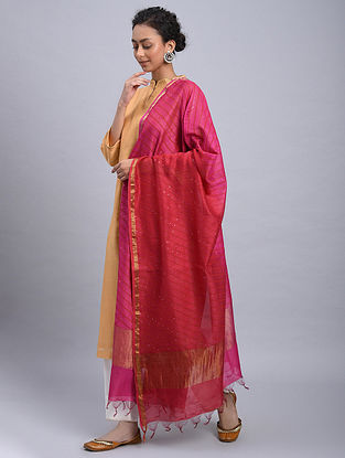 Pink-Red Ombre Block Printed Chanderi Dupatta With Mukaish