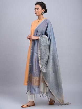 Blue Block Printed Chanderi Dupatta With Mukaish