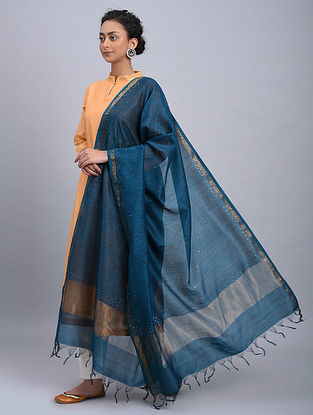 Navy Blue Block Printed Chanderi Dupatta With Mukaish