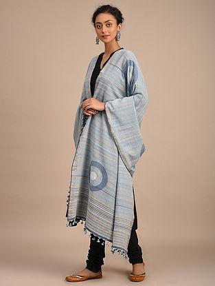 Grey-Blue Handwoven Jamdani Cotton Dupatta