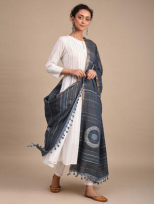 Blue Handwoven Jamdani Cotton Dupatta