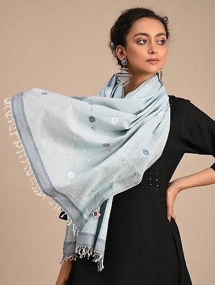 Blue Handwoven Jamdani Cotton Stole
