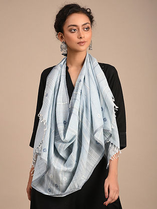 Blue Handwoven Jamdani Cotton Stole
