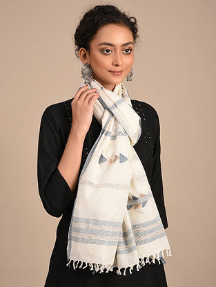 White-Blue Handwoven Jamdani Cotton Stole
