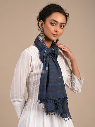 Blue-Black Handwoven Jamdani Cotton Stole