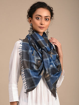 Black-Blue Handwoven Jamdani Cotton Stole
