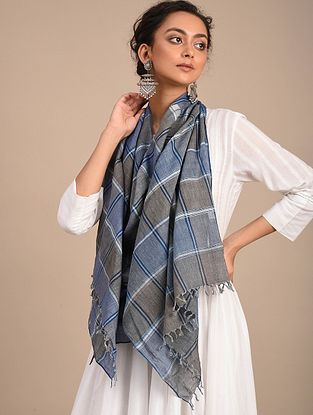 Grey-Blue Handwoven Jamdani Cotton Stole
