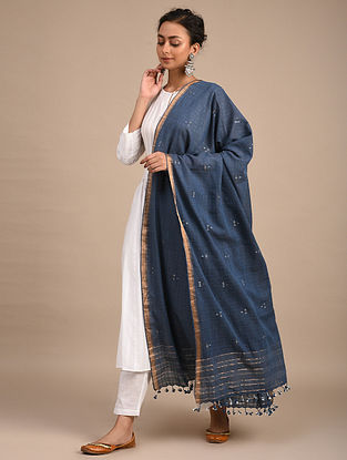Blue Handwoven Jamdani Cotton Dupatta