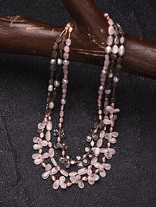 Rose Quartz  and Labradorite Beaded Silver Necklace