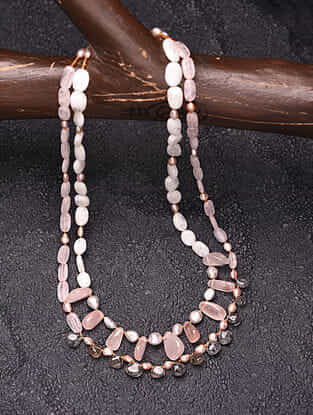Rutile, Rose Quartz and Baroque Pearl Beaded Silver Necklace