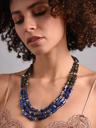 Labradorite, Pearl and Lapis Lazuli Beaded Silver Necklace