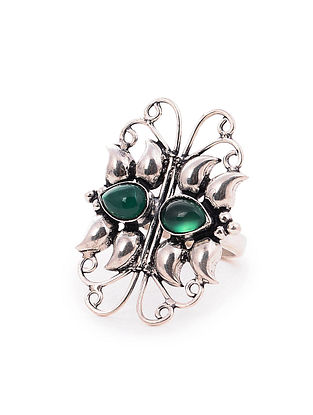Tribal Silver Adjustable Ring with Green Onyx