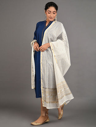 Off White Hand Block Printed Chanderi Dupatta with Mukaish