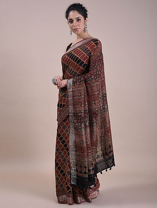 Rust-Black Handwoven Ajrakh Printed Linen Saree