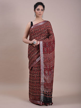Rust Handwoven Ajrakh Printed Linen Saree