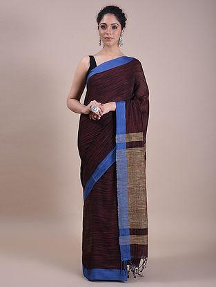 Maroon-Blue Handwoven Cotton Saree