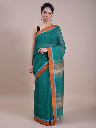 Green-Brown Handwoven Silk Cotton Saree