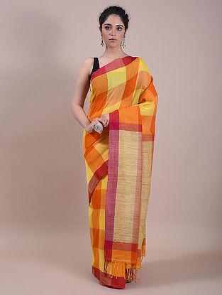 Orange-Yellow Handwoven Silk Cotton Saree