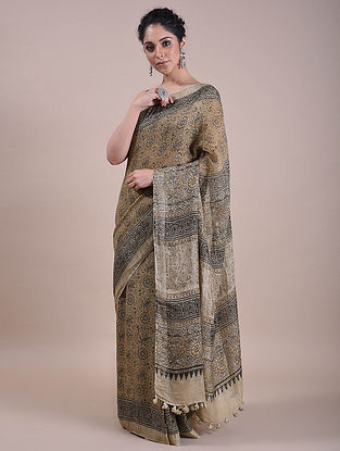 Beige Kalamkari Printed Linen Saree
