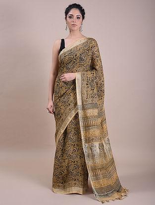 Light Yellow Kalamkari Printed Linen Saree