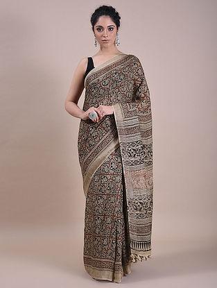 Cream Kalamkari Printed Linen Saree
