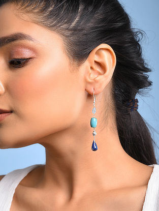 Silver Earrings with Blue Topaz and Iolite