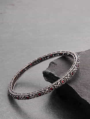 Red Silver Tone Handcrafted Bangle