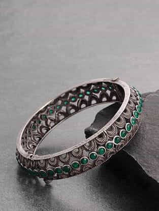 Green Silver Tone Handcrafted Bangle