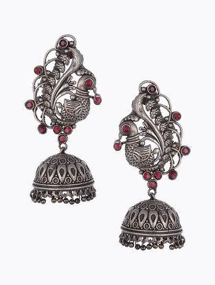 Maroon Silver Tone Tribal Jhumki Earrings
