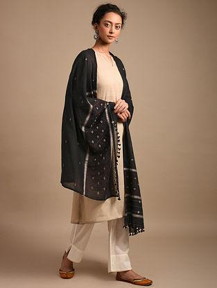 Black Handwoven Jamdani Cotton Dupatta