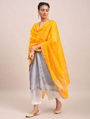 Yellow Handwoven Silk Dupatta
