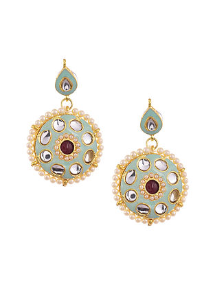 Blue Maroon Gold Tone Kundan Enameled Earrings
