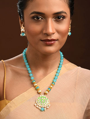 Turquoise Green Gold Tone Kundan Enameled Necklace With Earrings