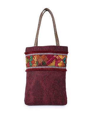 Maroon Handcrafted Phulkari Canvas Tote Bag