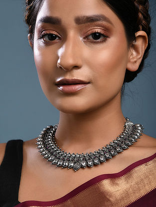 Maroon Tribal Silver Necklace with Peacock Motif