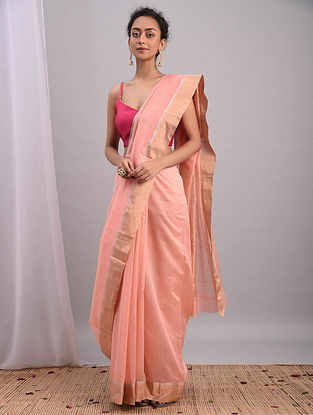 Peach Handwoven Chanderi Saree With Zari