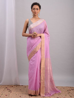 Lilac Handwoven Chanderi Saree With Zari