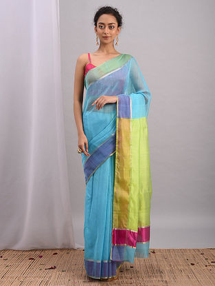 Blue-Green Handwoven Chanderi Saree