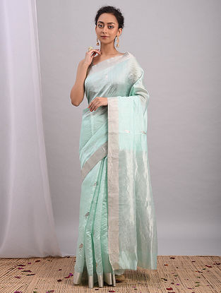 Blue Handwoven Chanderi Silk Saree With Zari