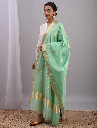 Green Handwoven Chanderi Dupatta