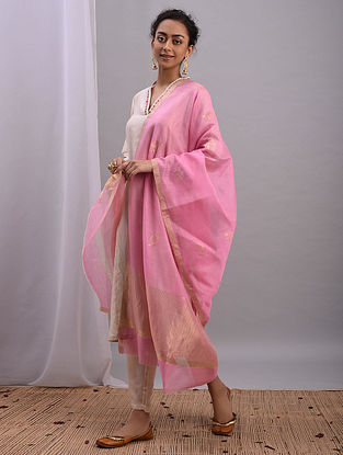 Pink Handwoven Chanderi Dupatta
