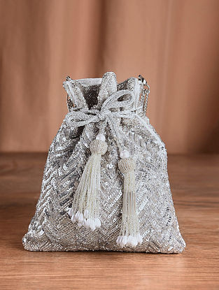 Silver Handcrafted Sequined Silk Potli