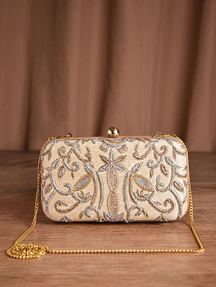 Beige Hand Embroidered Silk Clutch